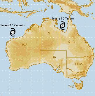 Trevor et Veronica : l'Australie en alerte face à deux cyclones majeurs